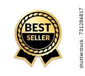ribbon award best seller. gold... | Shutterstock .eps vector #731286817