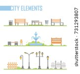 set of city park elements  ... | Shutterstock .eps vector #731293807