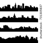 city skyline set   vector | Shutterstock .eps vector #731305837