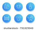 baby icon set. flat line icons... | Shutterstock .eps vector #731325043