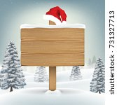 santa claus hat on wood board... | Shutterstock .eps vector #731327713