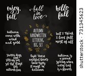 autumn quotes lettering set....   Shutterstock .eps vector #731345623