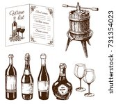 Hand Drawn Vintage Winery Wine Production Handmade Draft Winemaking Sketch Fermentation Grape Drink Vector Illustration