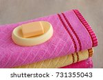 soap and bath towels. soap in... | Shutterstock . vector #731355043