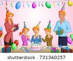 vector illustration of a happy... | Shutterstock .eps vector #731360257