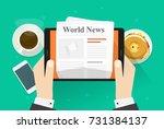 newspaper on tablet... | Shutterstock . vector #731384137
