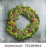 christmas decorative green...   Shutterstock . vector #731384863