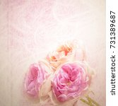 rose flowers in mulberry paper... | Shutterstock . vector #731389687