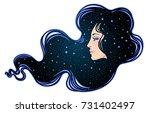 the profile of a girl with he... | Shutterstock .eps vector #731402497