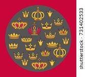 crowns doodle outline colorful... | Shutterstock .eps vector #731402533