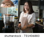 asian woman making coffee by... | Shutterstock . vector #731406883