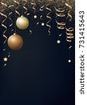 christmas background with gold ... | Shutterstock . vector #731415643