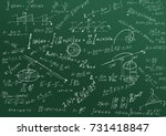 Small photo of Math physics formulas and symbol on green background