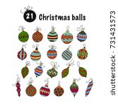 set of color vector christmas... | Shutterstock .eps vector #731431573