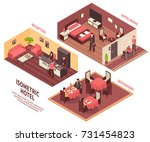 colored isometric hotel... | Shutterstock .eps vector #731454823