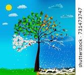 four seasons tree | Shutterstock . vector #731473747