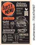 burger food menu for restaurant ... | Shutterstock .eps vector #731476987