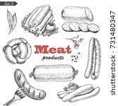 vector set of isolated meat... | Shutterstock .eps vector #731480347