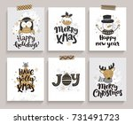set of cards for new year and... | Shutterstock .eps vector #731491723
