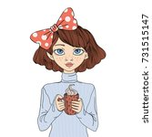 a young girl holding a cup of... | Shutterstock . vector #731515147