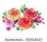 yellow  orange and pink roses.... | Shutterstock . vector #731518117