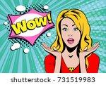 wow blond girl face with speech ... | Shutterstock .eps vector #731519983