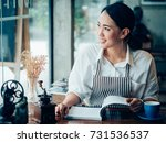 asian business girl working and ... | Shutterstock . vector #731536537