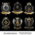 set of vector retro vintage... | Shutterstock .eps vector #731537623