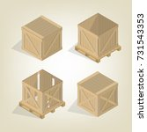 realistic wooden container for... | Shutterstock .eps vector #731543353