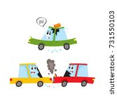 vector flat car characters with