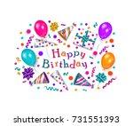 happy birthday greeting card ... | Shutterstock .eps vector #731551393
