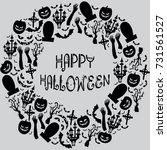 doodle style of flat halloween... | Shutterstock .eps vector #731561527