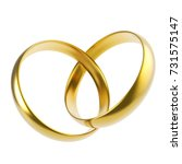 two gold rings in the shape of... | Shutterstock . vector #731575147