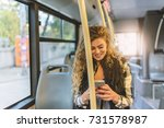 young woman typing on her smart ... | Shutterstock . vector #731578987