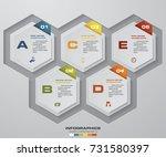 5 steps timeline infographic... | Shutterstock .eps vector #731580397