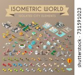 set of isometric high quality... | Shutterstock .eps vector #731591023