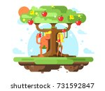adam and eve near apple tree.... | Shutterstock .eps vector #731592847