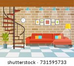 living room with sofa and... | Shutterstock .eps vector #731595733