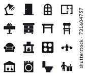 16 vector icon set   table lamp ... | Shutterstock .eps vector #731604757