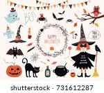 halloween collection with hand... | Shutterstock .eps vector #731612287