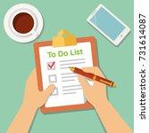 to do list illustration. flat... | Shutterstock .eps vector #731614087