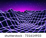 neon grid landscape with old... | Shutterstock .eps vector #731614933