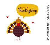 cute cartoon turkey character... | Shutterstock .eps vector #731624797