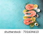 raw salmon fish steaks with...   Shutterstock . vector #731634613