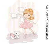 cute girl vector design.t shirt ... | Shutterstock .eps vector #731643493