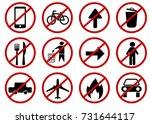 prohibited signs set  vector  | Shutterstock .eps vector #731644117