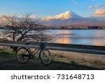 lake kawaguchiko with mt. fuji  ... | Shutterstock . vector #731648713