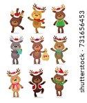 santa's reindeer set. vector...   Shutterstock .eps vector #731656453