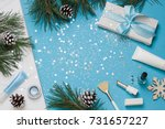 christmas  new year blue beauty ... | Shutterstock . vector #731657227
