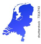 blue gradient netherlands map.... | Shutterstock . vector #7316743